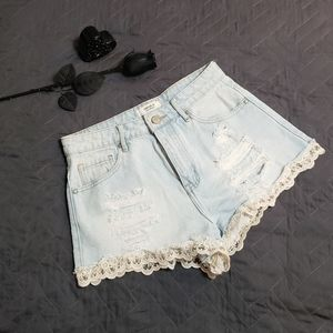 Forever 21 High Waisted Distressed Jean Shorts